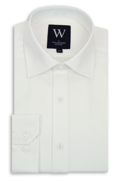 White Diagonal Stripe Cutaway Collar Shirt