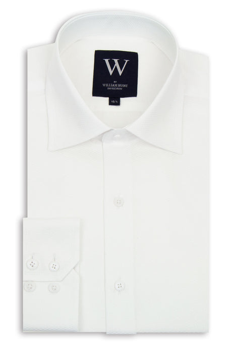 White Weaved Cutaway Collar Shirt