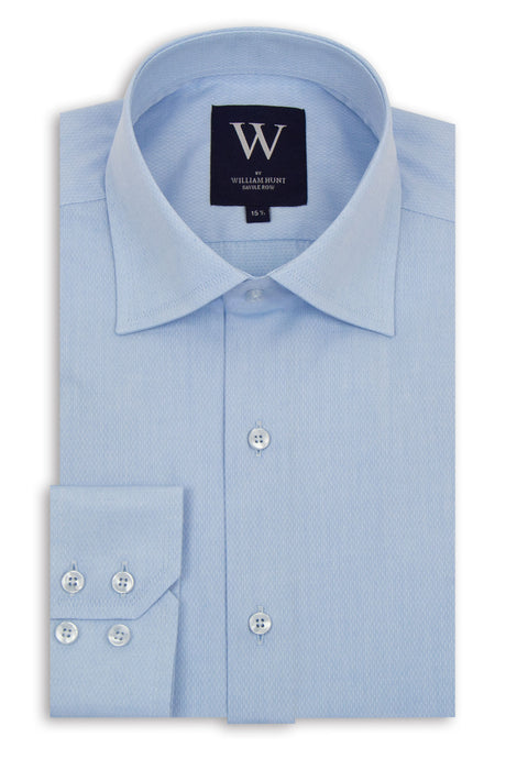 Blue Cutaway Collar Shirt with white Diamond Speckle Pattern