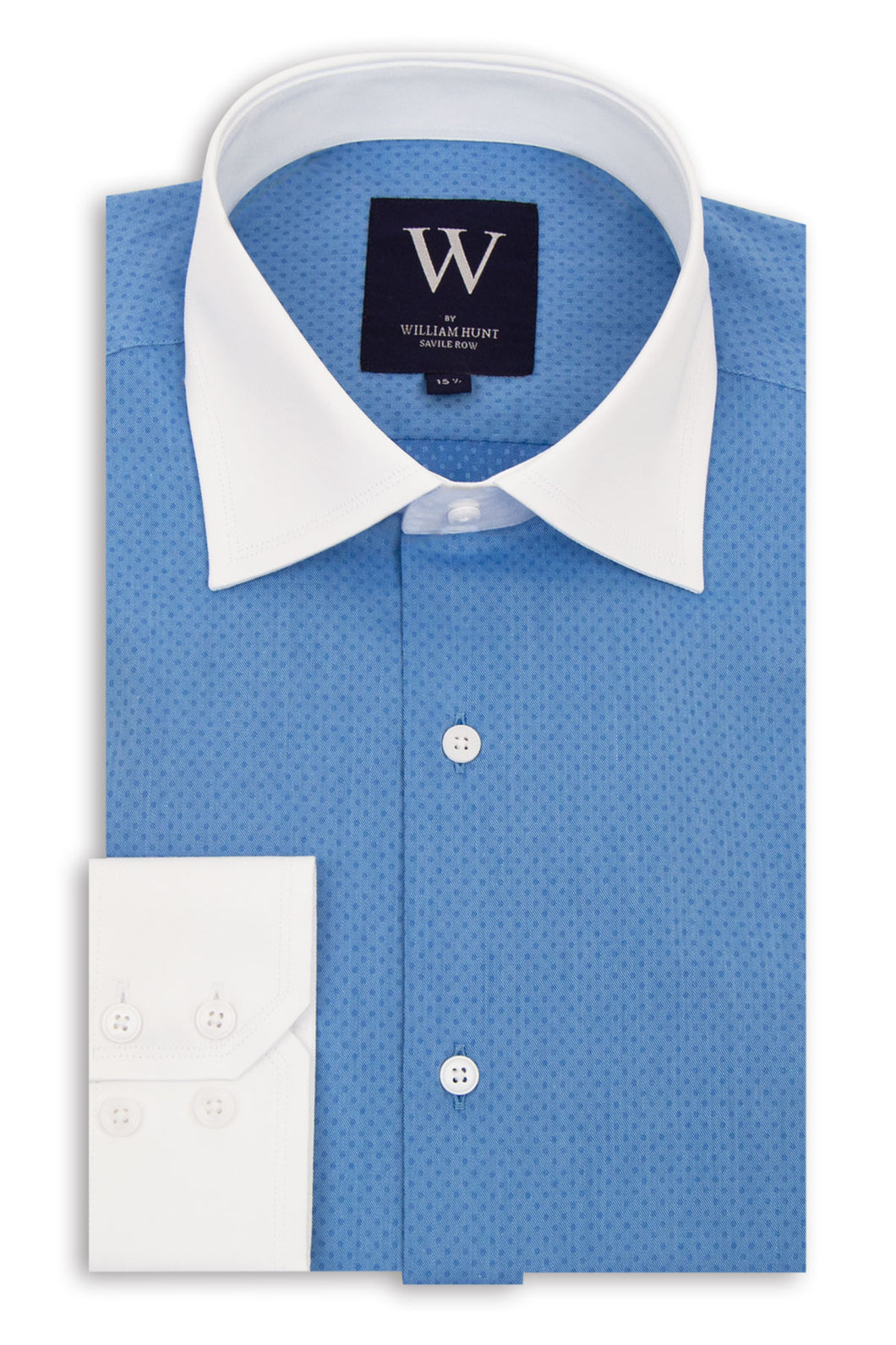Blue Cutaway Collar Shirt with Blue Pin Dot
