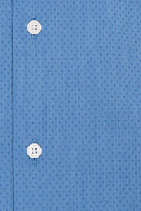 Blue Cutaway Collar Shirt with Blue Pin Dot Close
