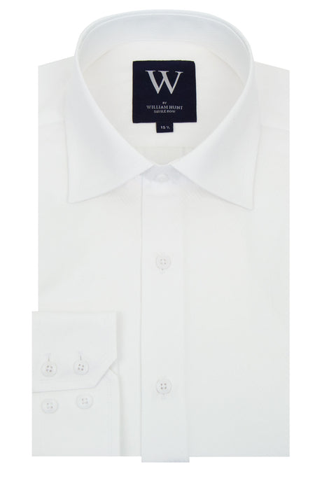 White Faint Diagonal Stripe Cutaway Collar Shirt