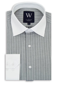 Grey Cutaway Collar Shirt with Herringbone and Stripe Design