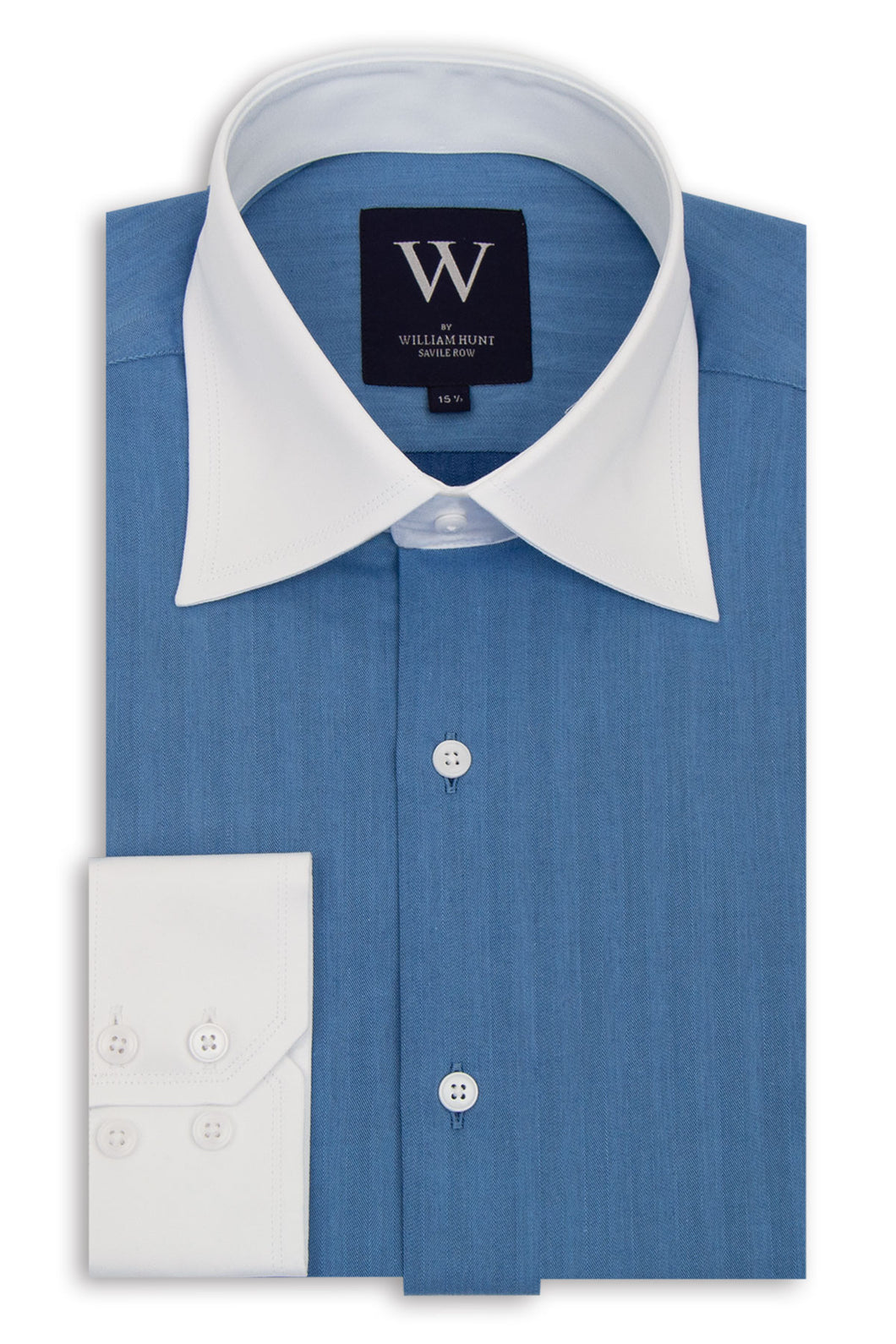 Blue Cutaway Collar Shirt with White Collar