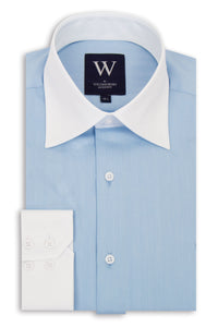 Blue Forward Point Collar Shirt with White Collar