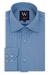 Blue Cutaway Collar Shirt with Faint Stripe