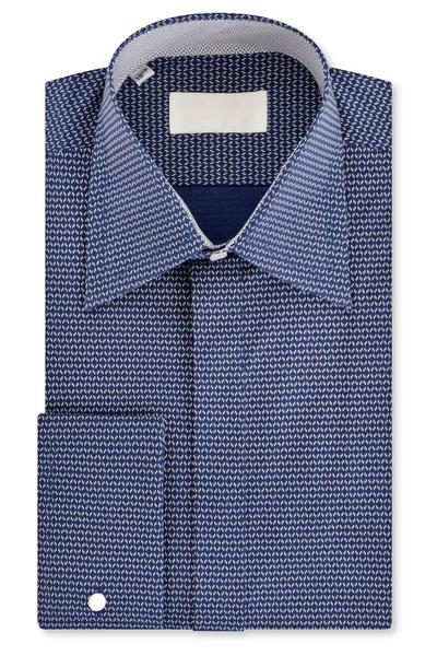 Navy Geometric Pattern Forward Point Collar Shirt