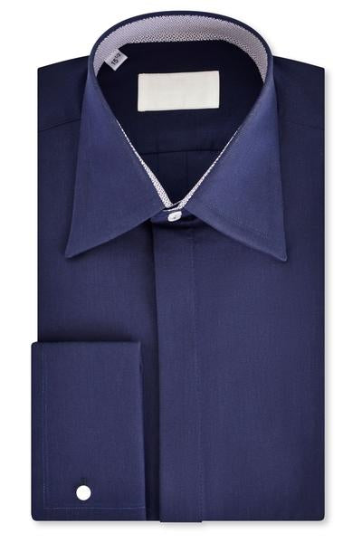 Navy Ribbed Forward Point Collar Shirt