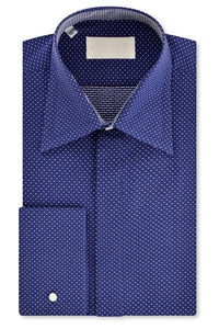 Navy with White Pin Dot Forward Point Collar Shirt