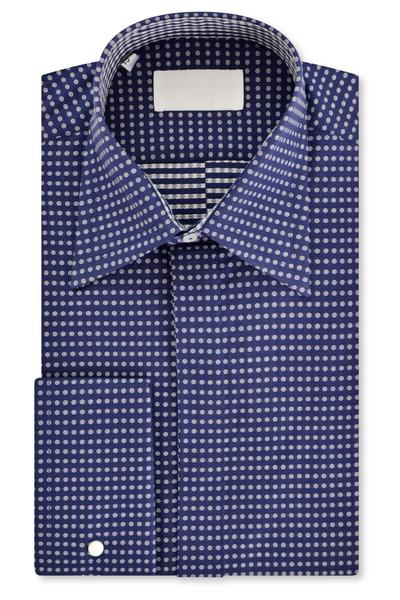 Navy with Circle Pattern Forward Point Collar Shirt