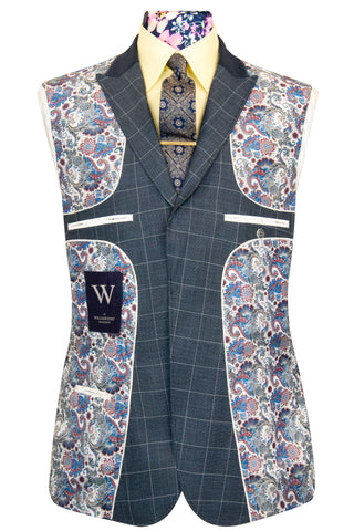 W by William Hunt Iron Grey with White Windowpane Check