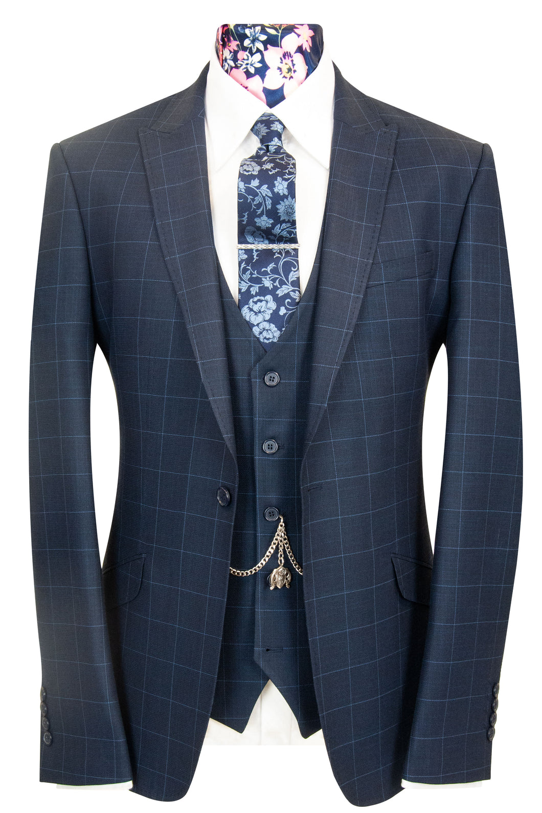 W by William Hunt Navy with Sky Blue Windowpane Check