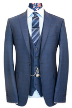 W by William Hunt Navy with Electric Blue Windowpane Check