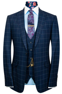 W by William Hunt Navy Blue with White Windowpane Check Suit