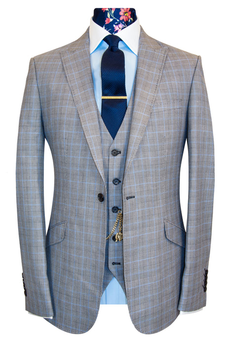 W by William Hunt Grey and Sky Blue Prince of Wales Check