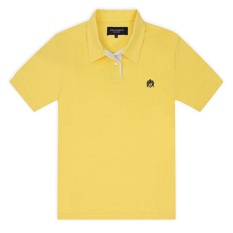 Yellow Piqué Polo Top with White Contrasting Insert