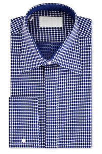 White Shirt with Blue Polka Dot Pattern