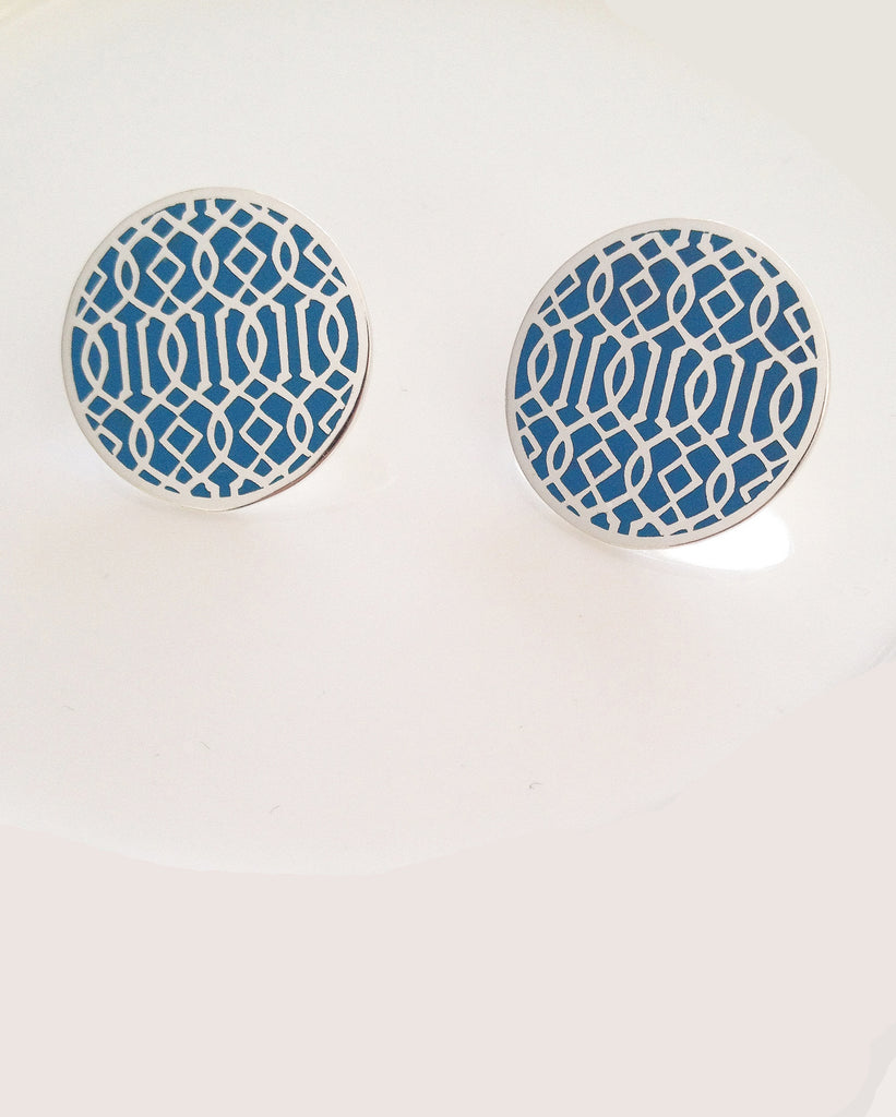 Symi silver enamel earrings blue