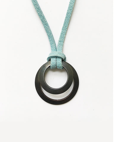 Clasp Pendant blackened suede light blue
