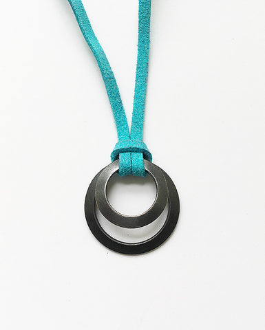 Clasp Pendant blackened suede turquoise