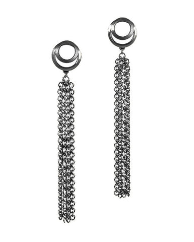 Clasp Tassel Earrings Blackened Silver