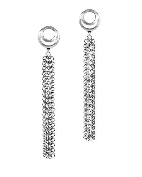 Clasp Tassel Earrings Silver