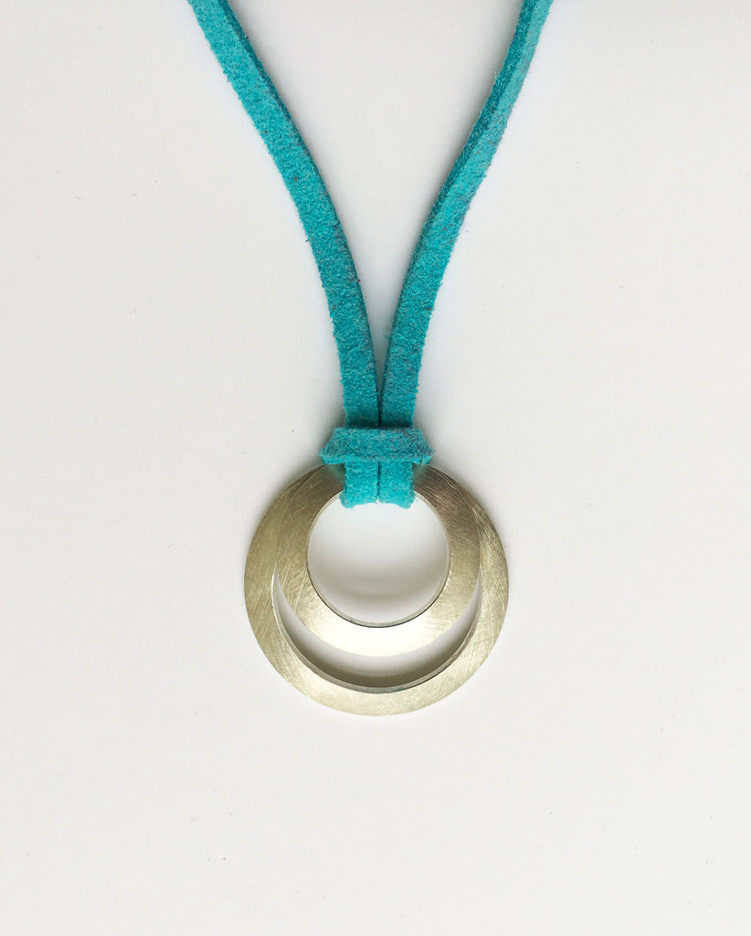 Clasp Pendant suede turquoise