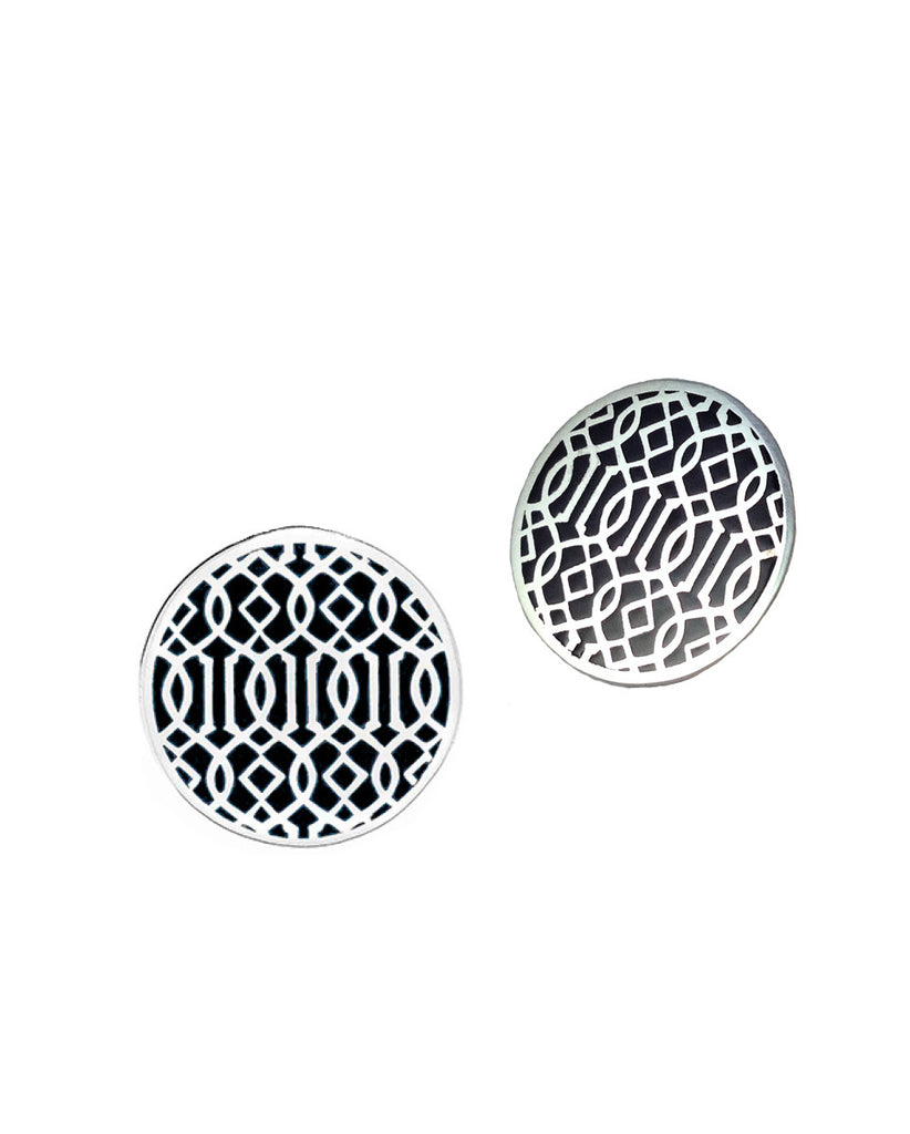 Symi silver enamel earrings black
