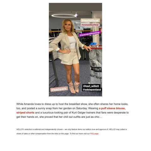 Amanda Holden Is Featured In Hello! Wearing Lavender Hill Clothing