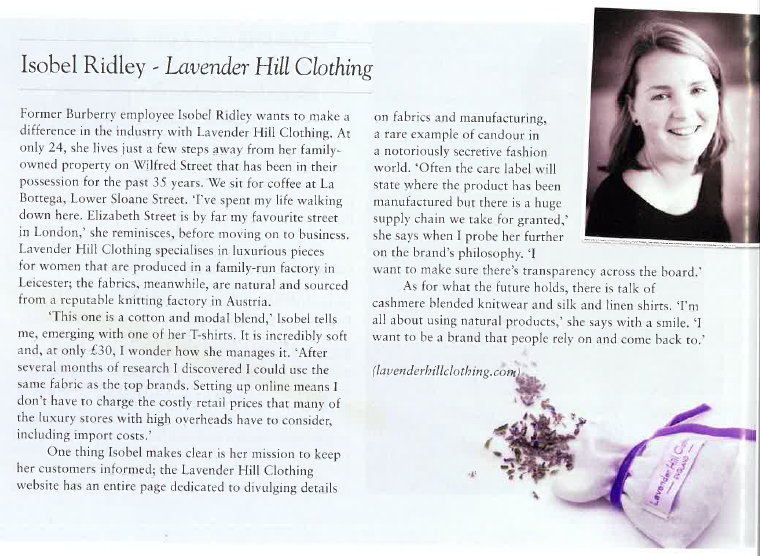 Lavender Hill Clothing in the Belgravia magazine