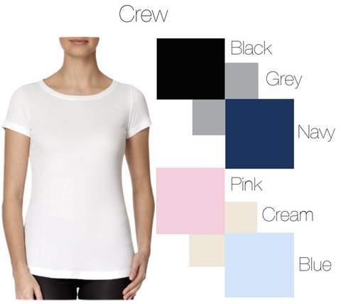 Round neck top colour guide
