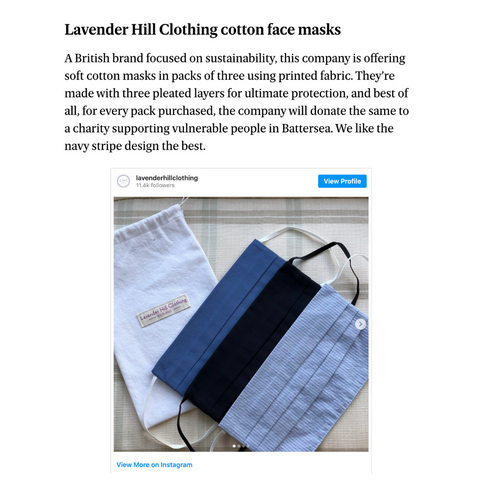 Evening Standard Discusses The Best Places To Find Re-Usable Face Masks Featuring Lavender Hill Clothing. Highlighting Their Work With The Katherine Low Settlement