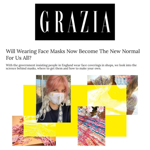 Grazia Discusses How Face Masks Are Becoming The New Normal And Features Lavender Hill Clothing's Face Mask Offerings