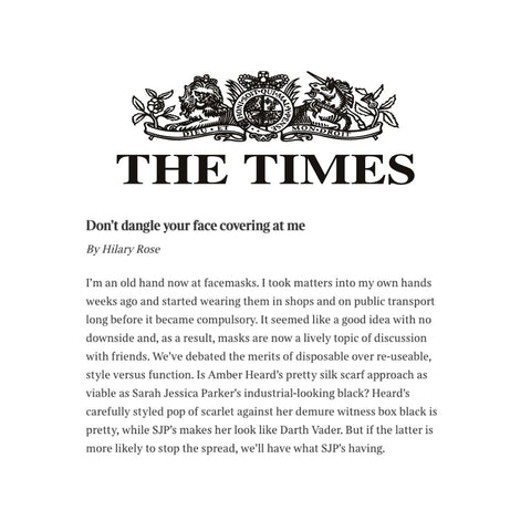 Hilary Rose From The Times Talks All Things Face Masks And Mentions Lavender Hill Clothing's Fashionable Face Mask Offerings