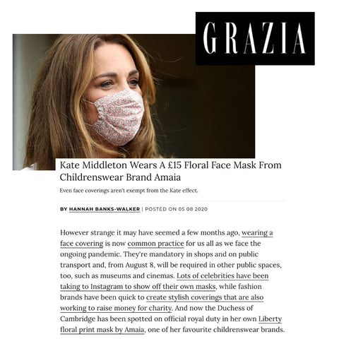 Kate Middleton Wearing Face Mask In Grazia Along With Lavender Hill Clothing
