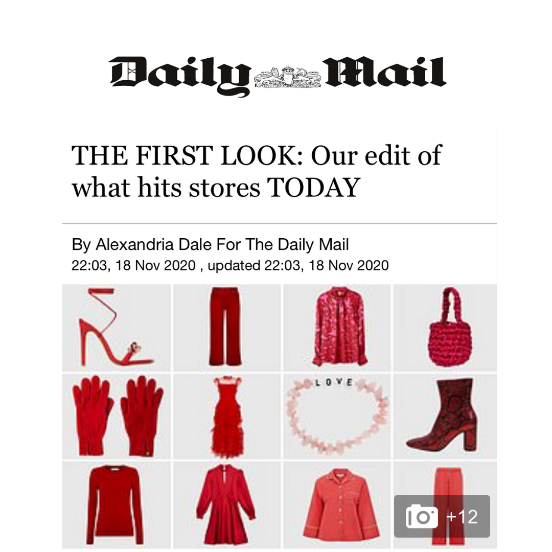 Ladies red cashmere gloves featured in The Daily Mail