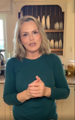 Liz Earle Wearing The Green Long Sleeve Crew Neck Top From Lavender Hill Clothing