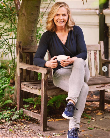 Liz Earle Wearing The Navy Wrap Top From Lavender Hill Clothing