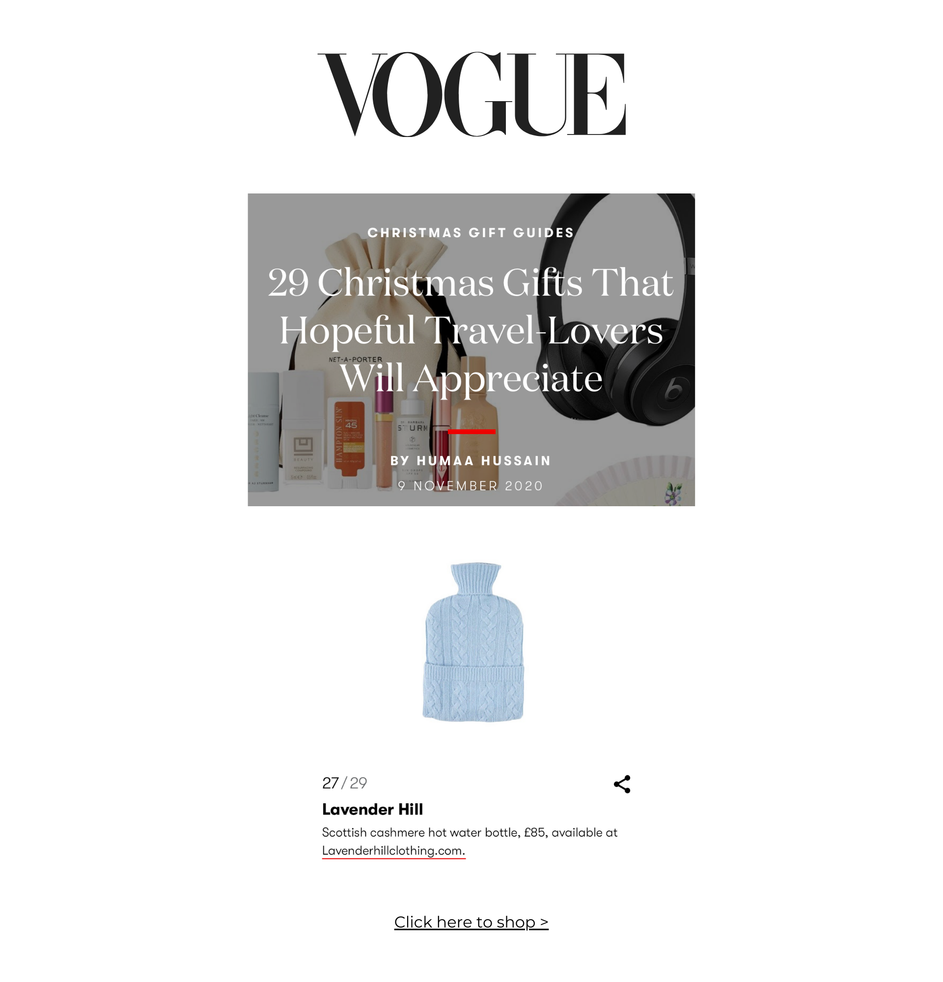 Vogue Gift Guide Cashmere Hot Water Bottle