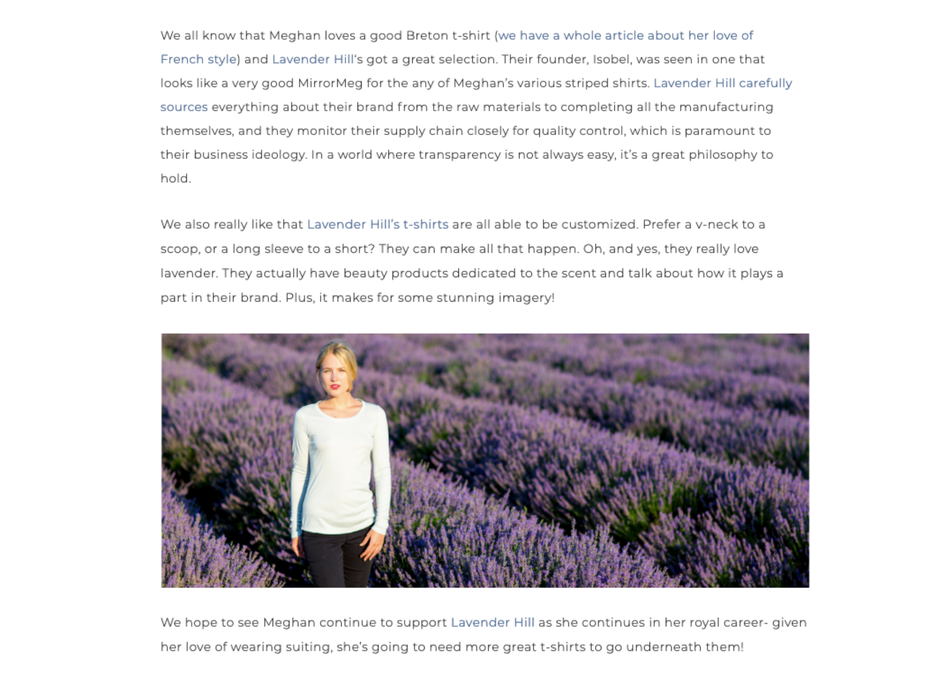 Meghan's Mirror Highlight on Sustainable clothing brand Lavender Hill Clothing