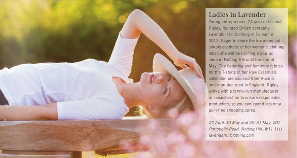Lavender Hill Clothing coverage from the Notting Hill and Holland Park Magazine