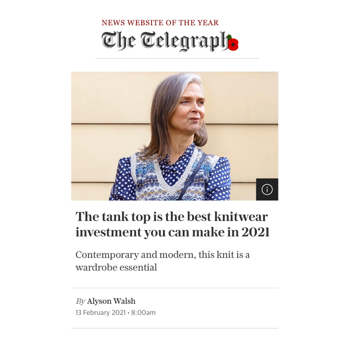 Alyson Walsh features Lavender Hill tank tops in the Telegraph