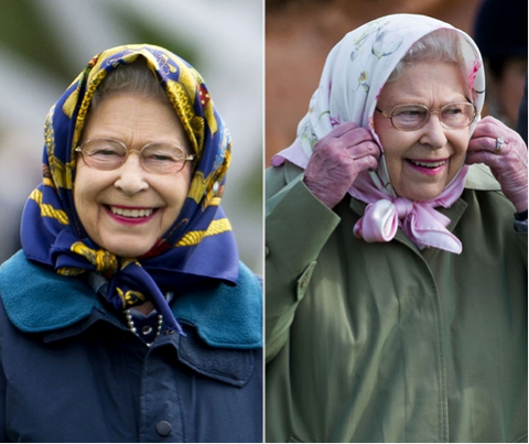 Queen in silk head scarf - lavender hill clothing
