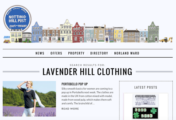 Lavender Hill Clothing featured in the Notting Hill Post