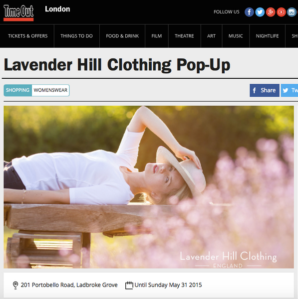 Time Out Magazine feature on Lavender Hill Clothing