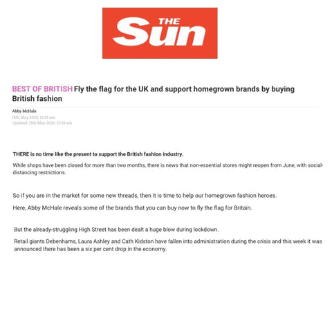 The Sun Highlights The Best Of British Made Brands - Highlighting Lavender Hill Clothing