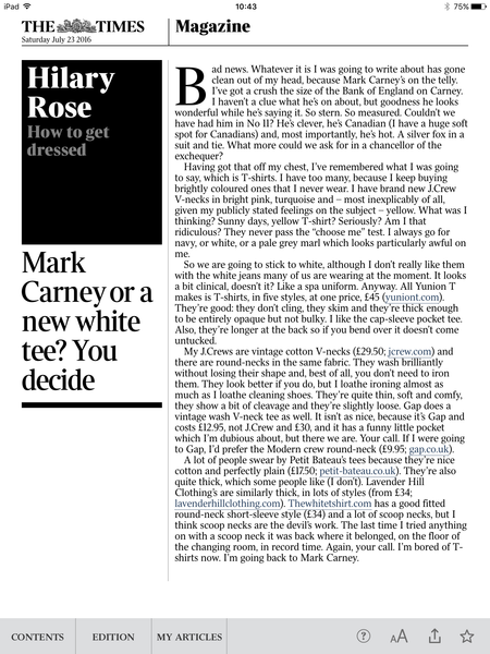 Hilary Rose article on white t-shirts