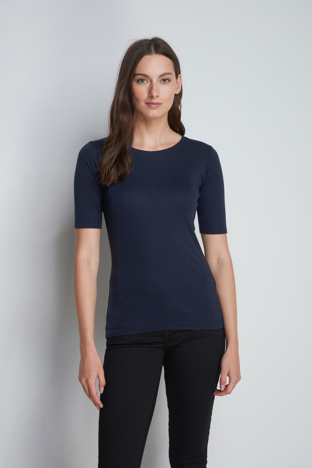 High Quality Half Sleeve Crew Neck T-Shirt - Comfortable Crew Neck Cotton Modal Blend - Luxury Half Sleeve T-Shirt - Navy Half Sleeve Crew Neck T-Shirt