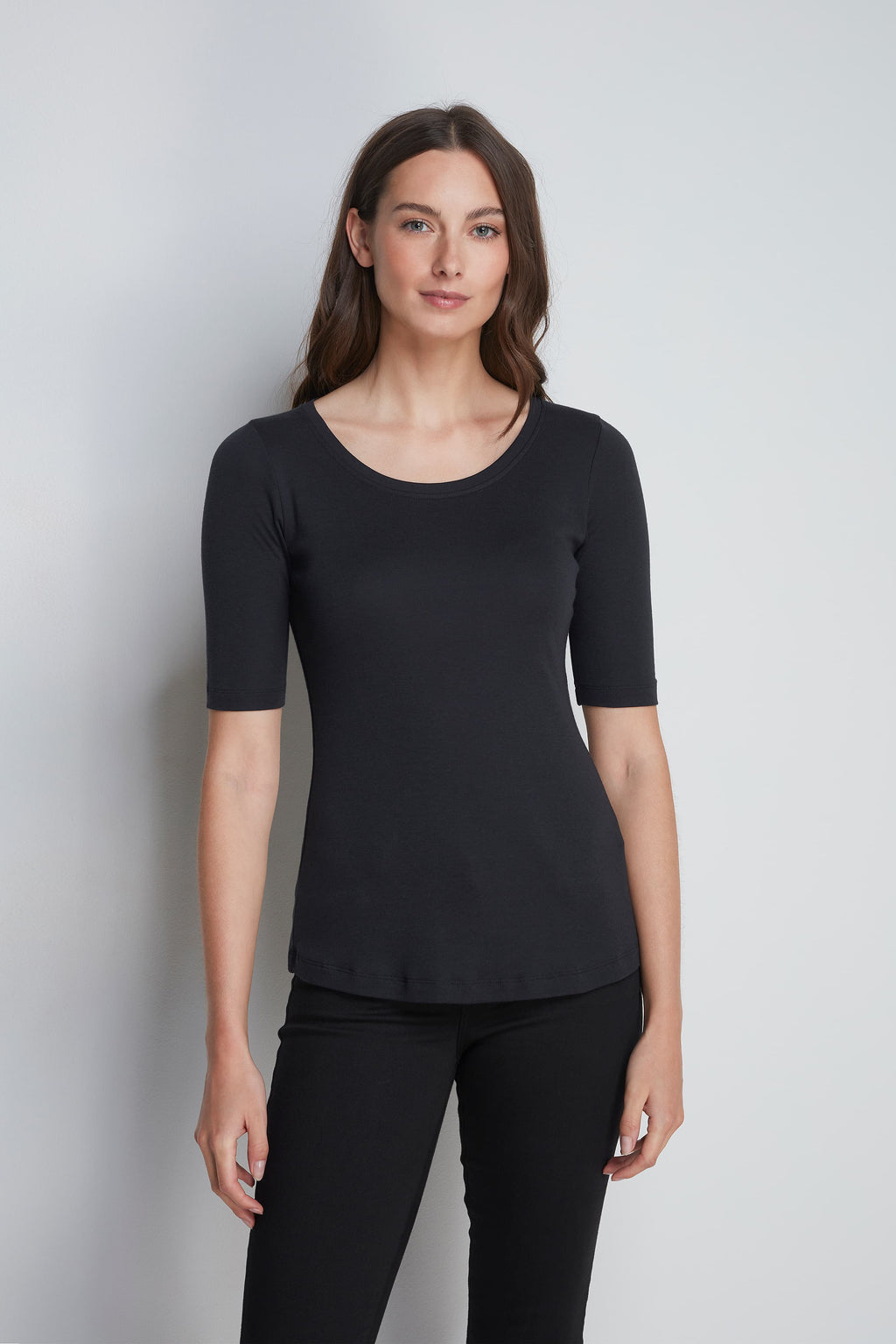 Mid-Weight Flattering Half Sleeve Black Scoop Neck T-Shirt - Quality Half Sleeve Scoop - Classic Silhouette