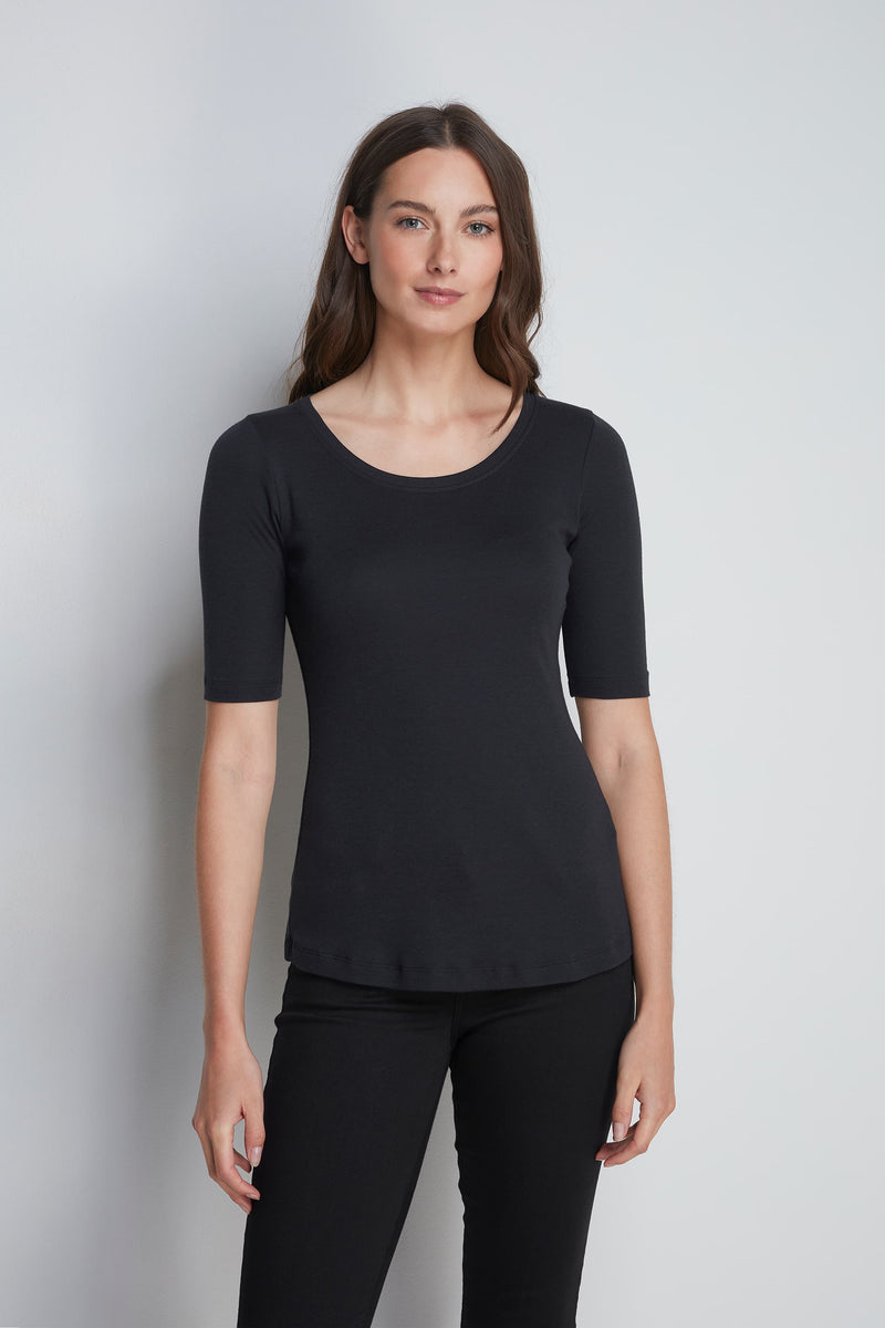 Mid-Weight Flattering Half Sleeve Grey Scoop Neck T-Shirt - Quality Half Sleeve Scoop - Classic Silhouette